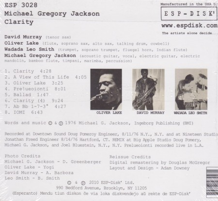 Michael Gregory Clarity Back Cover